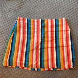 NWT Aqua Multi Colored Striped Linen Skirt M